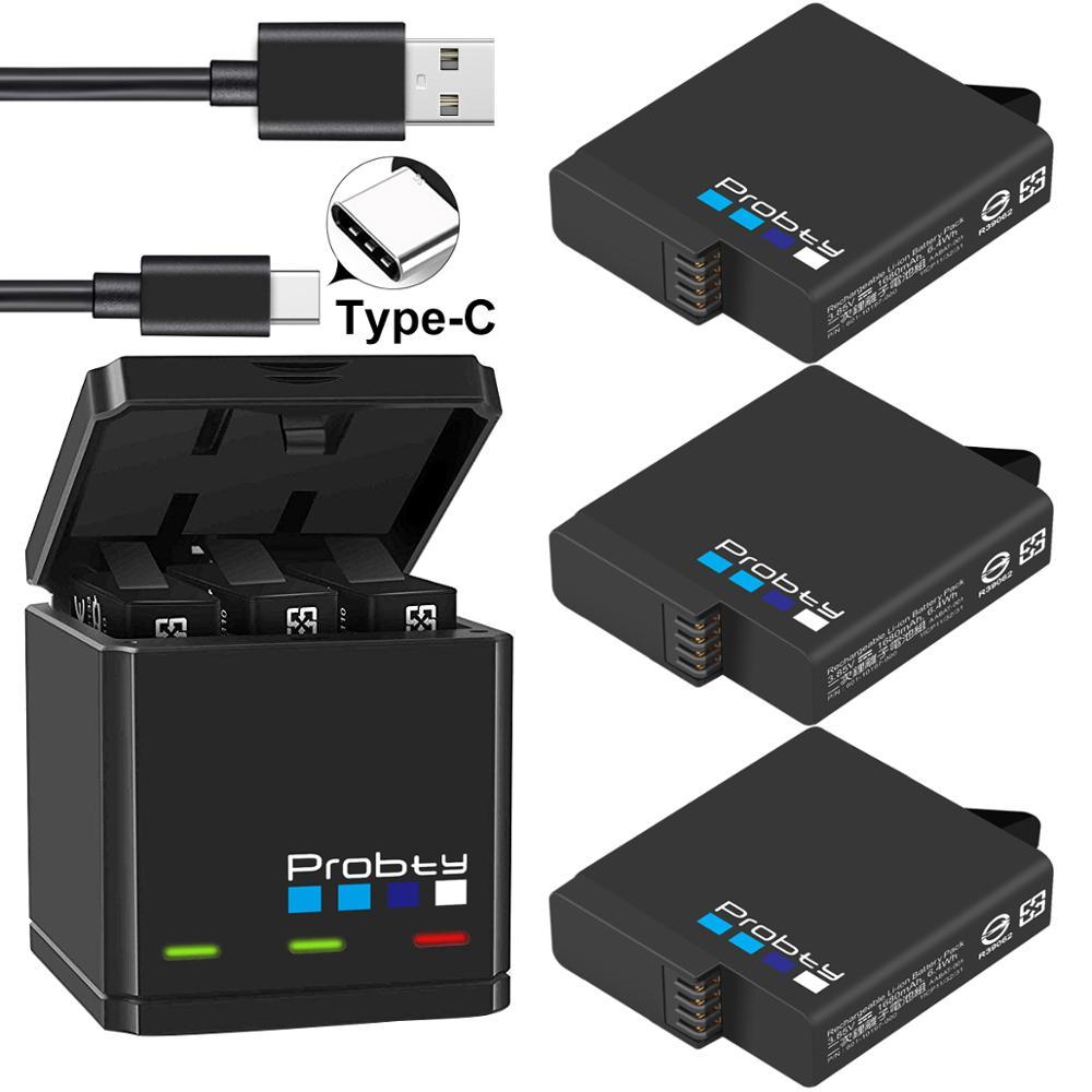 Зарядное устройство Probty для GoPro Hero 7/6/5, черная, оригинальная, тройная, для батарей камер