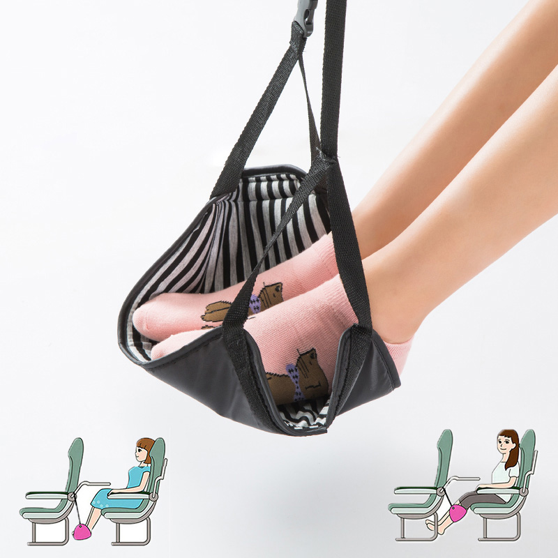 Flight Car Travel Essential Aviation Seat Foot Pad Adjustable Train Airplane Foot Rest Feet Hammock Portable Travel Accessories image