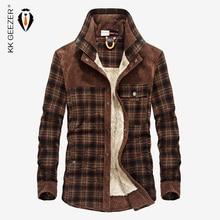 قميص من قماش فلانل الرجال العسكرية منقوشة الشتاء الدافئة الصوف معطف سميك 100% القطن عالية الجودة جيب قمصان طويلة الأكمام دروبشيبينغ