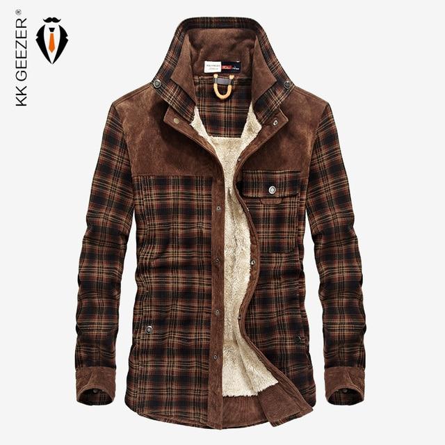 Camicia di flanella Uomini Militare Plaid Panno Morbido di Inverno Caldo Cappotto di Spessore 100% Cotone di Alta Qualità di Tasca Camicette Manica Lunga Dropshipping