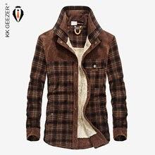 Flannel Shirt Men Military Plaid Winter Warm Fleece Thick Coat 100% Cotton High Quality Pocket Shirts Long Sleeve Dropshipping