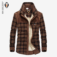 Koszula flanelowa mężczyźni wojskowy Plaid Winter Warm Fleece gruba powłoka 100% bawełna wysokiej jakości kieszeń koszule z długim rękawem Dropshipping