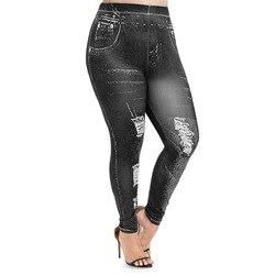 Moda de talla grande Leggings para mujer flacos 3D gráficos cintura elástica alta Leggings ajustados pantalones lápiz mujer Casual ropa de las señoras