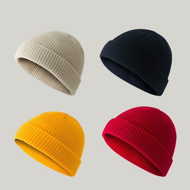 15 Colors Autumn Winter 2019 Cute Colorful Men Women Knitted Hats Beanie Skullies Sailor Cap Cuff Brimless Hat Watermelon Caps