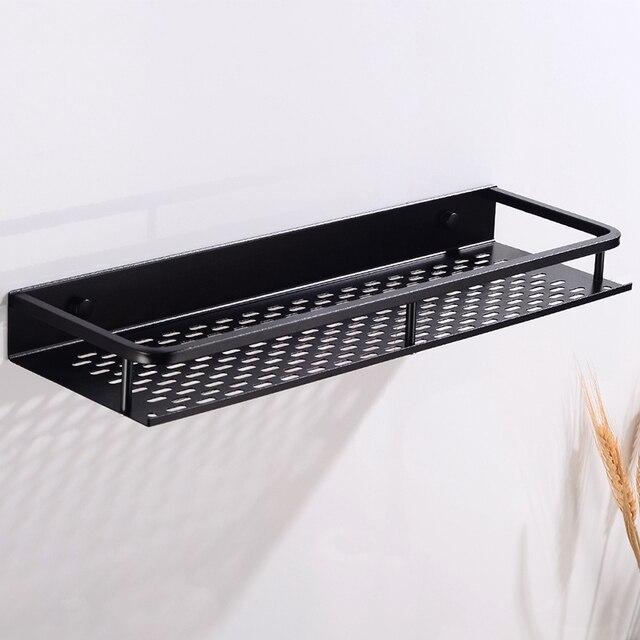 מדף לחדר האמבטיה שחור מט עם מקום למגבת 2