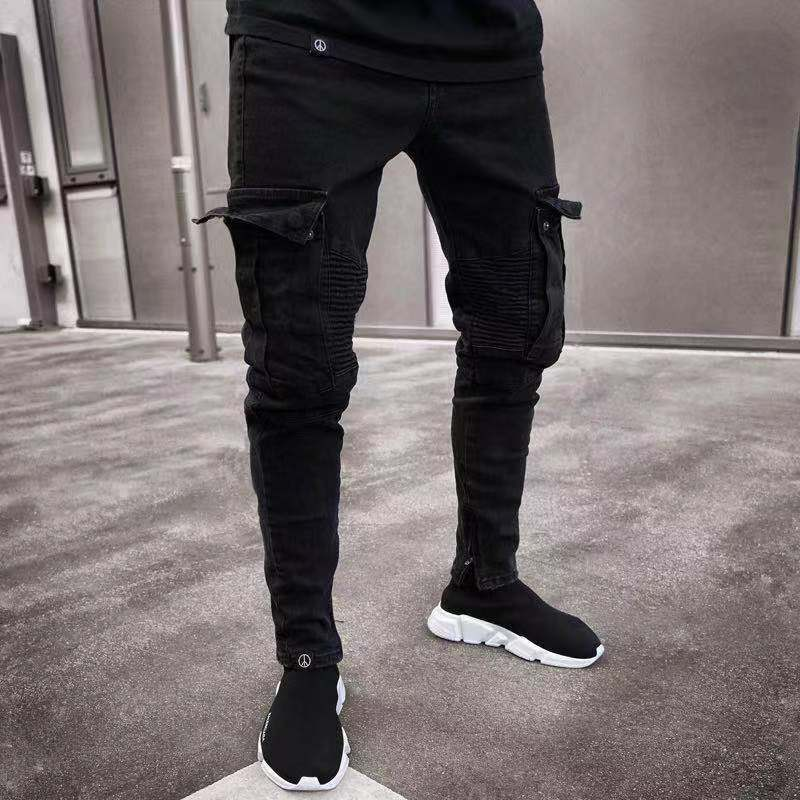 Hot Fashion Black Jeans Men Denim Skinny Biker Destroyed Frayed Slim Fit Pocket Cargo Pencil Pants Plus Size S-3XL