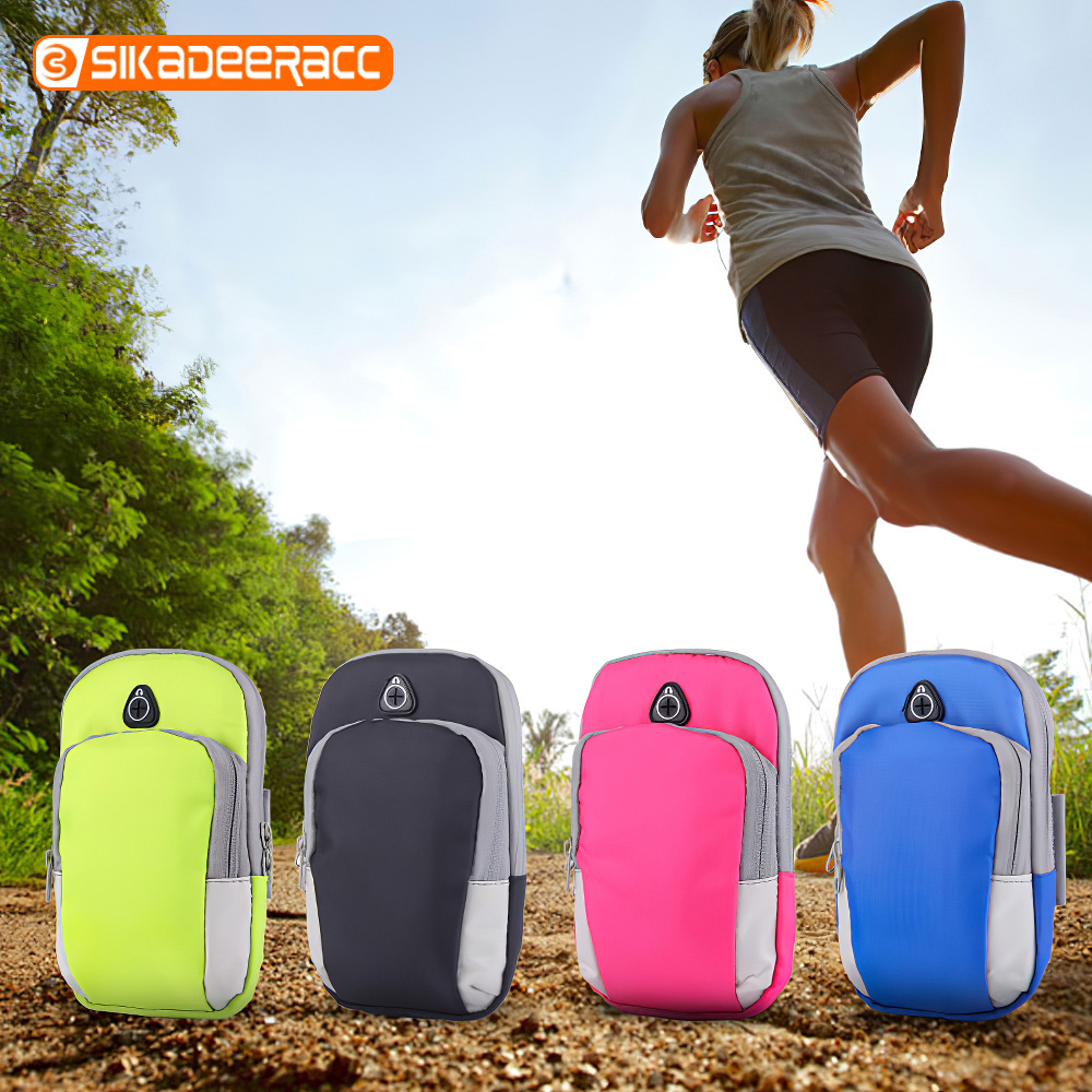 Men Women Phone Arm Bag For iPhone XR XS X 8 7 6 Plus Double Zipper Cell Phone Sports Outdoor Running Climbing Pouch Accessories