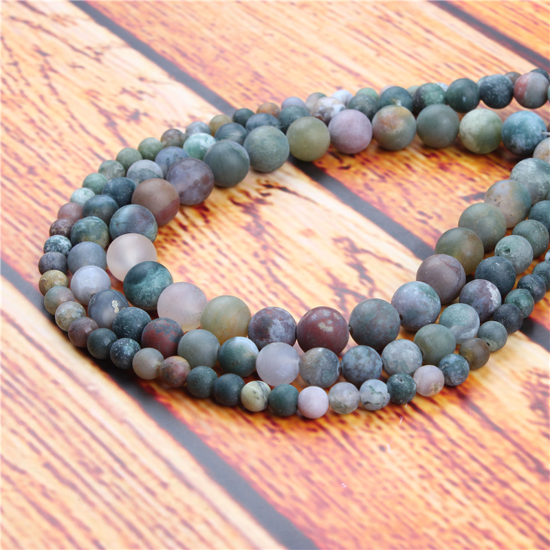 Frosted Indian Agate Natural Stone Bead Round Loose Spaced Beads 15 Inch Strand 4/6/8/10/12mm For Jewelry Making DIY Bracelet