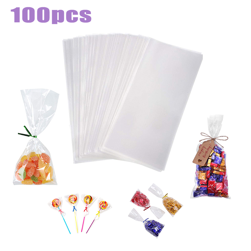100pcs/pack Transparent Cellophane Bag Clear Opp Plastic Bags For Candy Lollipop Cookie Packing Packaging Wedding Party Gift Bag
