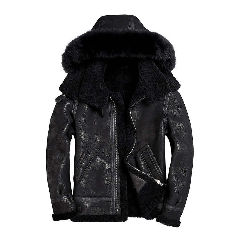 Real Fur Coat Men Natural Sheep Shearing Winter Coat Men Hooded Plus Size Jackets For Mens Clothing Veste Homme SWY853-1 YY748
