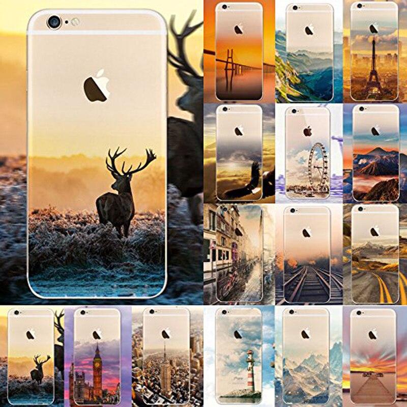 Paisagem Case Para iPhone 8 7 6 6s Plus Construção animais natural padrão Case Capa Voltar Para iPhone8 Coque capinhas Telefontok