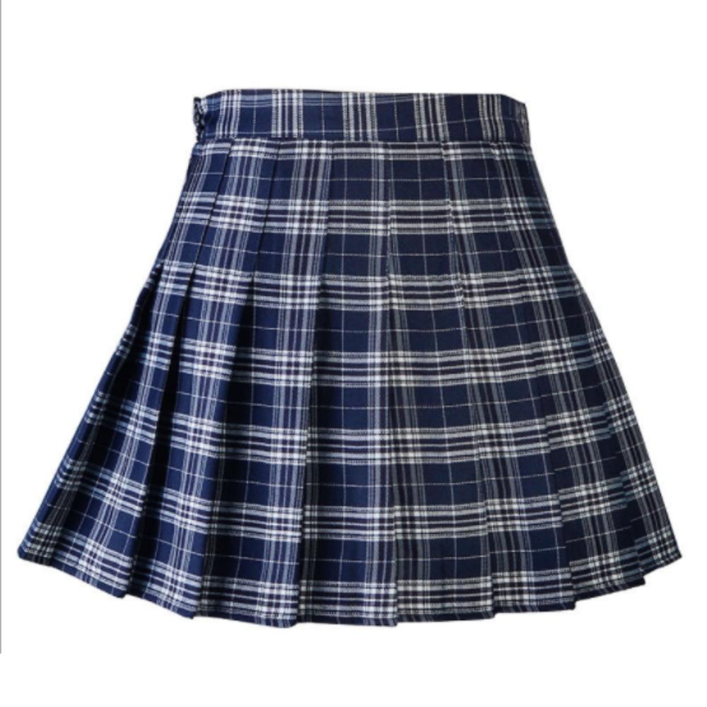 Women Skirt High Waist Pleated Casual Plaid Girls Uniform Skirt