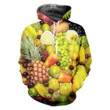Толстовка унисекс с капюшоном и принтом фруктов 6xl