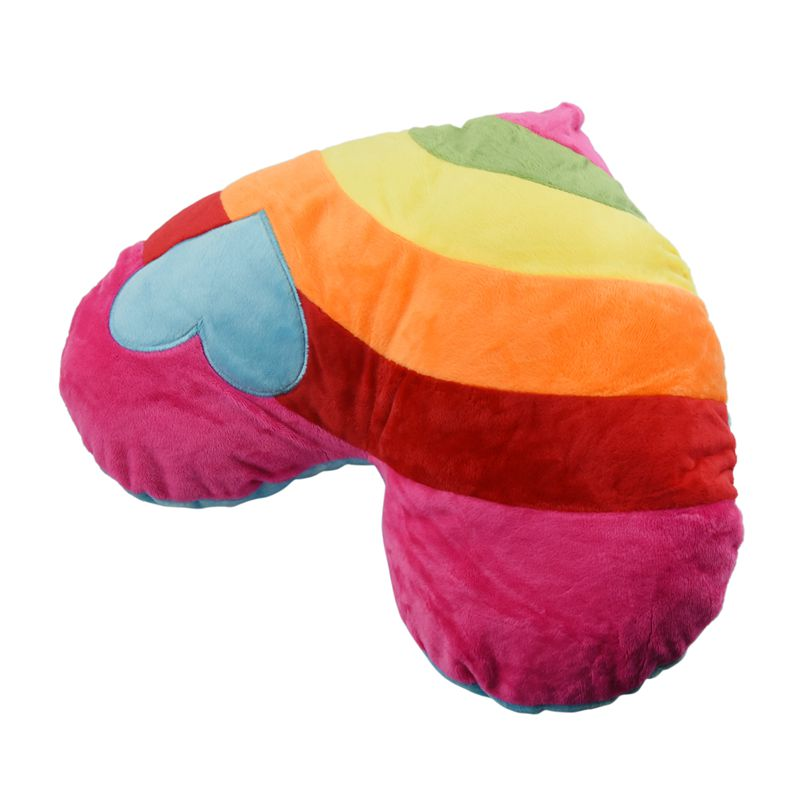 HHO-Lovely Soft Stuffed Plush Cushion Nap Rainbow Love Heart Pillow Toys Heart