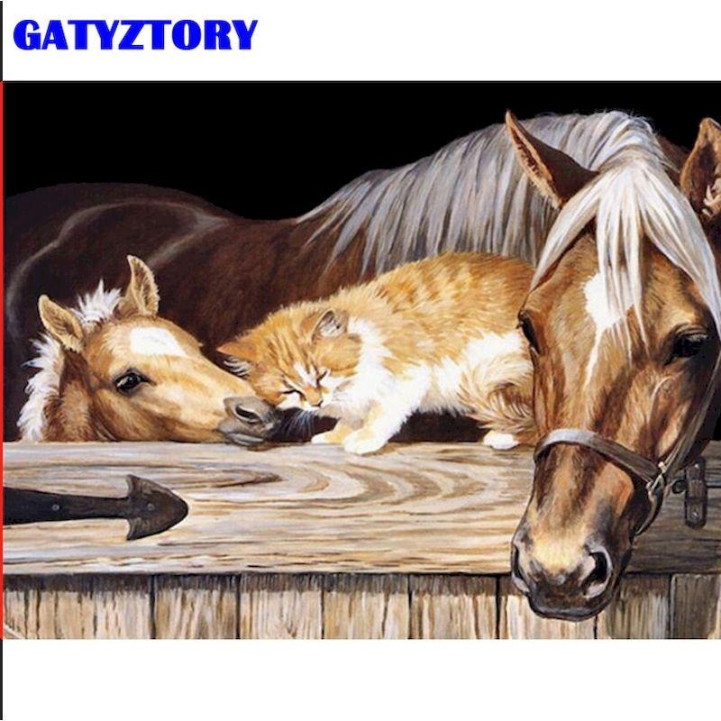 Gatyztory cavalo e gatos pintura animal por números para adultos crianças 60x75cm emoldurado na lona casa sala de estar decoração
