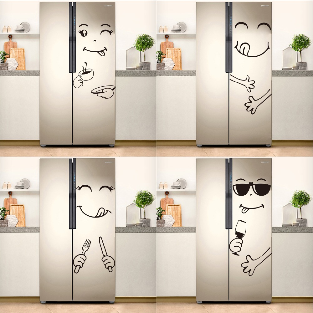 US $18.18 18% OFFHot Sale Fridge Sticker Kitchen Decoration Delicious Face  Refrigerator Wall Stickers Cuisine Door Home Decor Mural DecalWall