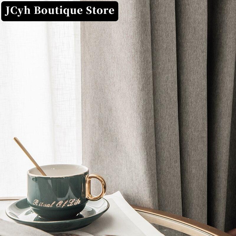 JCyh 100% Современные затемняющие шторы для гостиной, спальни, однотонные водонепроницаемые шторы для окон, занавески, Кортины
