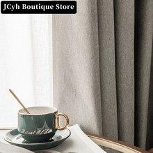 Jcyh 100% moderno cortinas blackout para sala de estar quarto cor sólida à prova água tratamento janela cortinas
