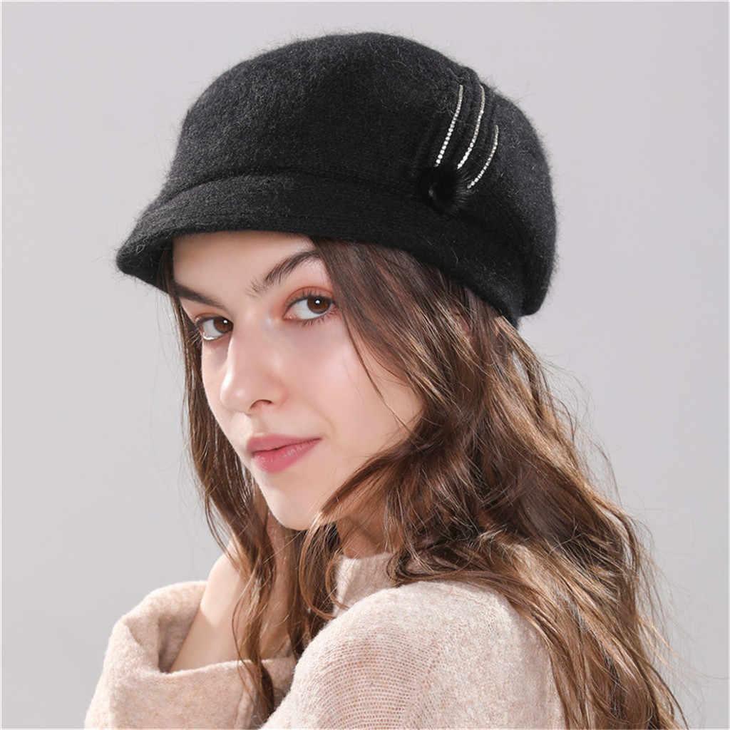 De las mujeres caliente del ganchillo lana de invierno Ski Beanie cráneo Slouchy nueva moda mujeres deporte gorras sombrero gorra