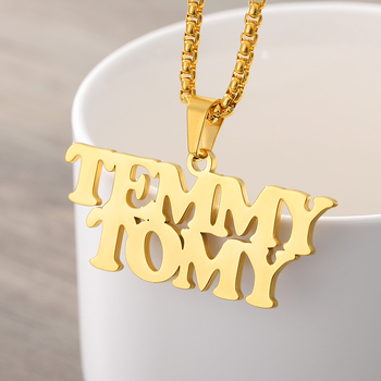 Custom Jewelry Personalized Name Necklaces For Women  Gold Chain Stainless Steel Pendant Signature Choker Necklace For Men BFF custom necklace heart pendant stainless steel gold chain personalized name necklaces choker jewelry necklaces for women dropship