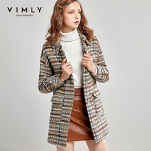 Vimly Coats and Jackets For Women Winter Plaid Wool Coat Fashion Turn Down Collar Single Breasted Thick Female Overcoat 30289