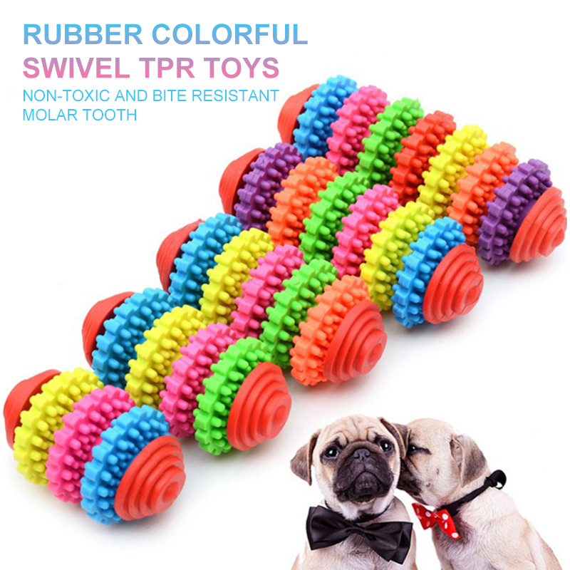 Portable Pet Care Colorful Rubber Pet Dog Puppy Dental Teething Healthy Teeth Gums Chewing Toys Outdoor Travel Pet Supplies