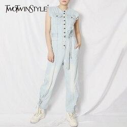 Женский джинсовый комбинезон TWOTWINSTYLE, на лето, с высокой талией и карманами
