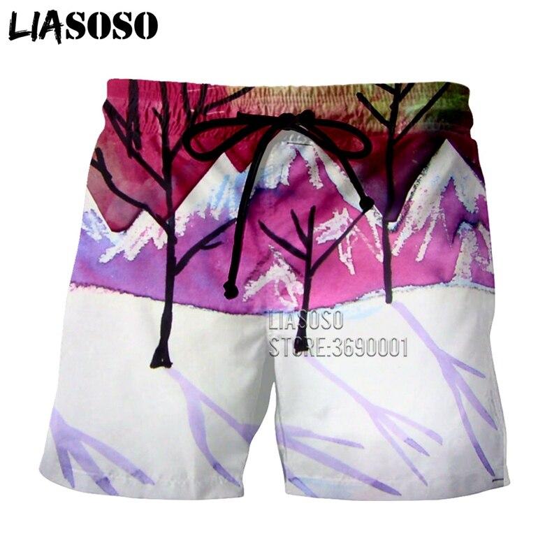 LIASOSO 3d Print Men's Shorts Landscape Mountain Purple Moon Snow Beach Casual Shorts Boardshorts Summer Trunks  X2704