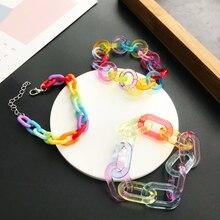 Забавный Радужный цветной прозрачный акриловый браслет с цепочкой для женщин и мужчин, креативный геометрический браслет для пары, ювелирн...