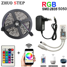 WiFi Led Strip Light SMD 5050 60led 2835 RGB Led Stripe DiodeTape DC12V Flexible RGB LED Strip Ribbon Diode with WiFi Controller