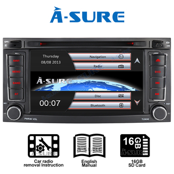 A-Sure Car Multimedia 2 Din 7'' AutoRadio DVD Player GPS Navigation For Volkswagen VW Multivan Transporter T5 TOUAREG 2004-2011 image
