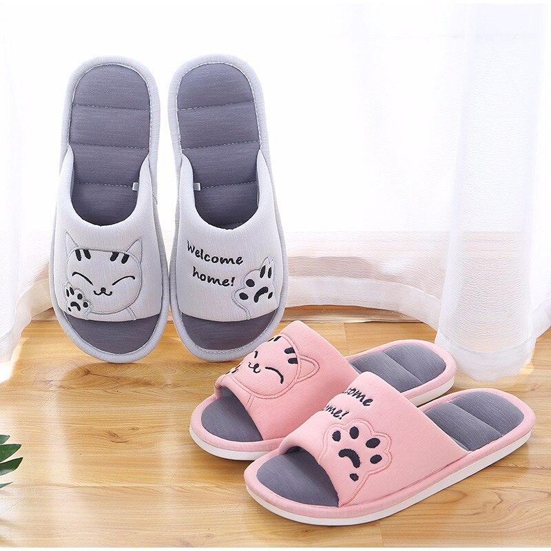H244e4a67dfc44104a26535da514b1b63c Mulheres macio casa plana gato chinelos de algodão inverno quente mulher moda casa sapatos conforto do sexo feminino estilo casal interior