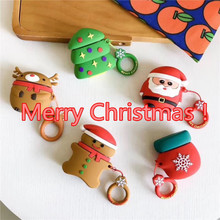 Merry Christmas Cute Cartoon Silicone For Apple AirPods Case Wireless Bluetooth Earphone Protective Cover Accessories