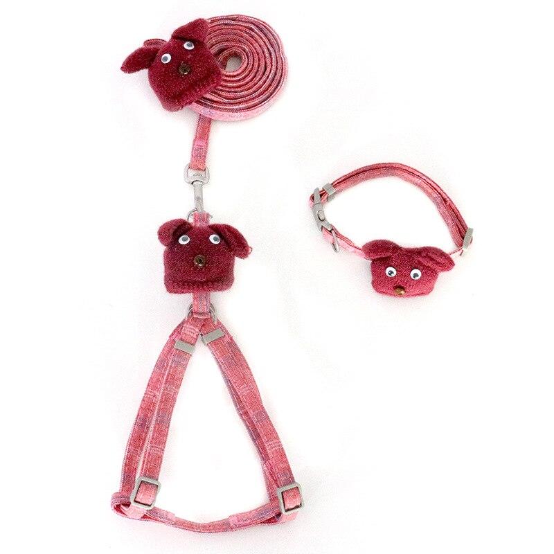 Pet Supplies Dog Hand Holding Rope Dog Rope Nylon Plaid Order Card Bear Dog Chest Single Neck Ring Three-piece Set