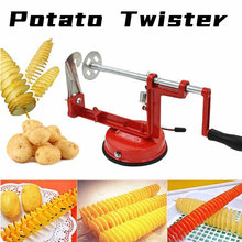 Manual Red Machine Vegetable Spiraliz Stainless Steel Twisted Potato Apple Slicer Spiral French Fry Cutter Cooking Tools