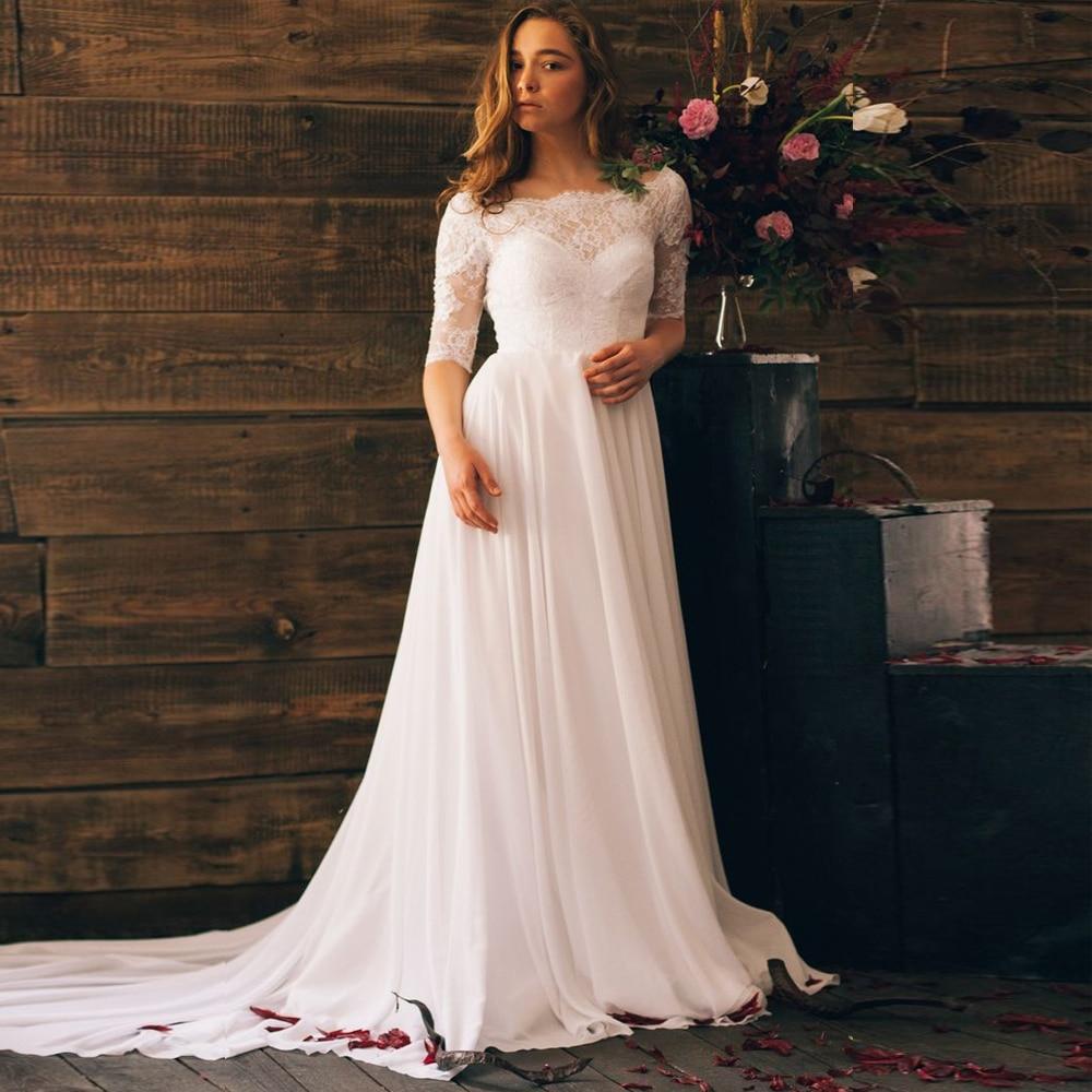 ADLN Boho Wedding Dresses Lace Half Sleeves Chiffon Bridal Gown Scoop Neck Backle Ss Beach Wedding Dress Vestido De Noiva