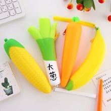 Cute Zipper Pencil Case Banana Coin Purse Bag Wallet Pouch Pen Box Silicone Portable Pencil Bag For Student Stationery Supplies цена
