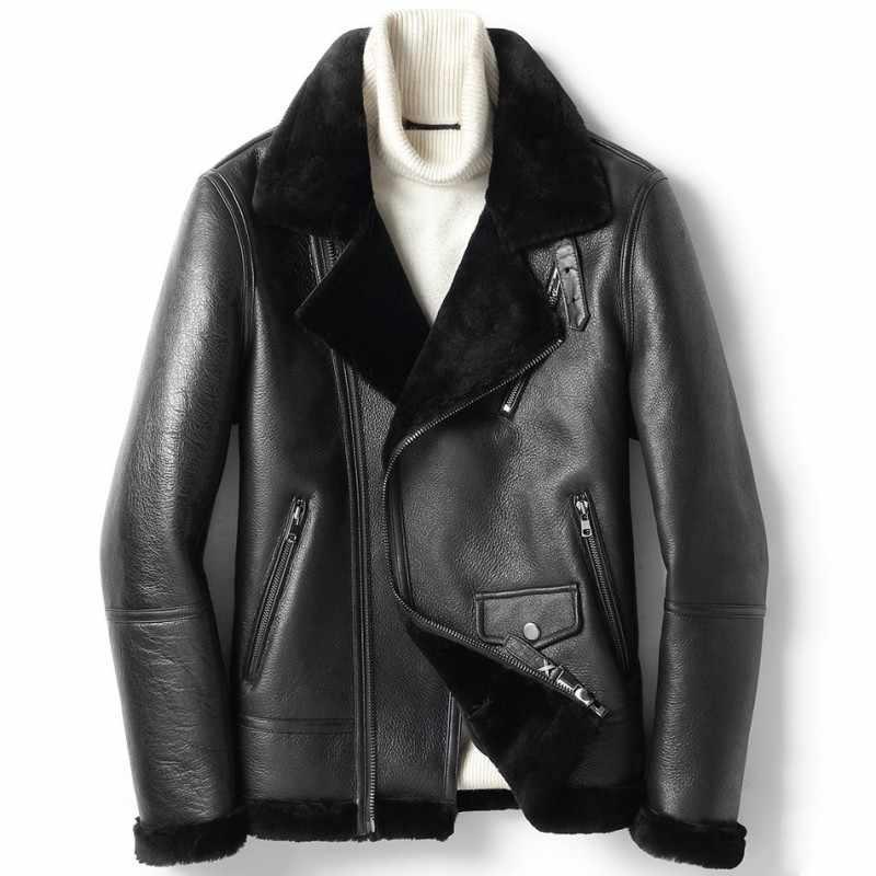 Зимнее толстое теплое мужское байкерское пальто из натуральной овчины, натуральный мех, шерсть, подкладка, пальто из овечьей кожи, куртка размера плюс 5XL