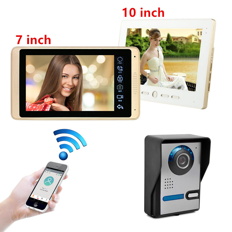 DIY 7inch Wired Wifi IP Video Door Phone Doorbell Intercom Entry System With HD 1000TVL Wired Camera Night Vision