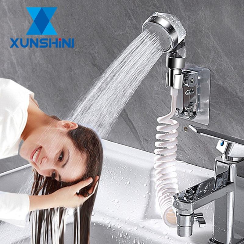XUNSHINI Faucet External Shower Head Flexible Water Saving Wash Hair Toilet Handheld Washing Hair Artifact Kitchen Bathroom