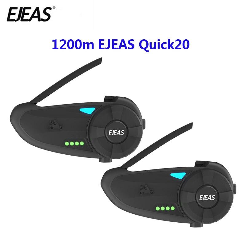 2PCS Quick20 Bluetooth 4.2 Motorcycle Intercom Headset Raid Pair 1.2km With FM Radio Turntable Battery Indicator For 2 Riders