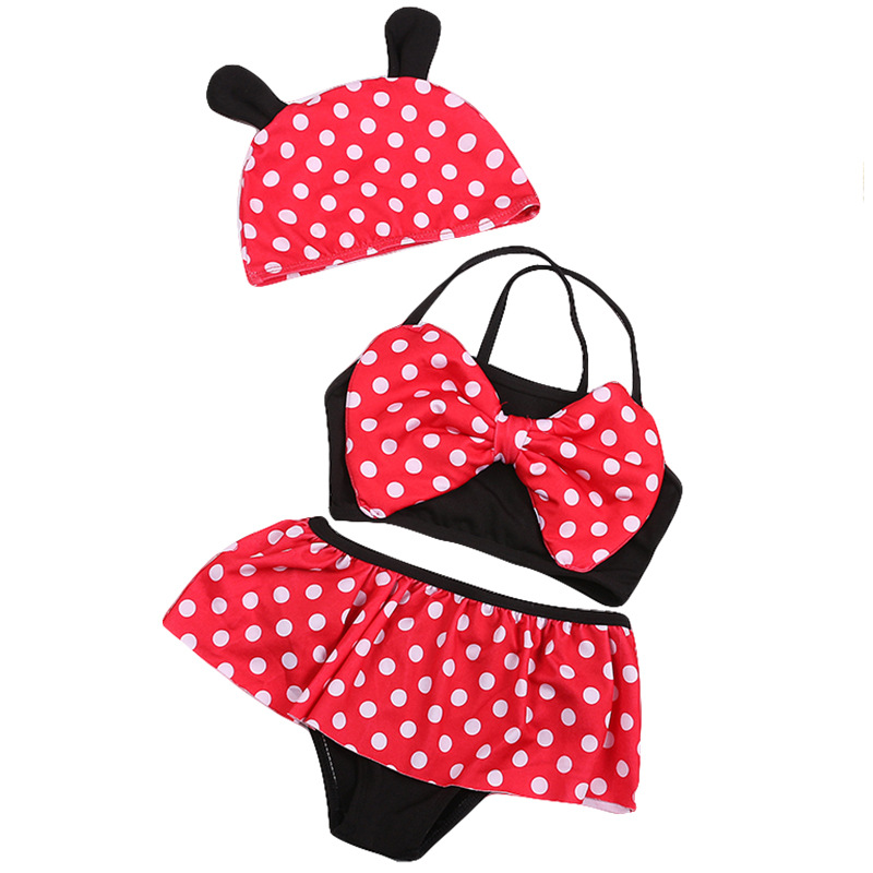 Cute Bathing Suit Children GIRL'S Suit Comfortable Dacron Children Princess Models With Swim Cap Baby Swimwear