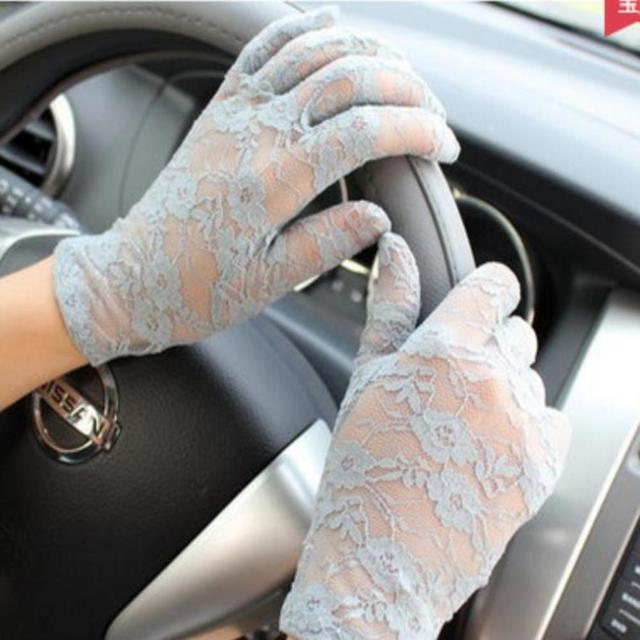 Fashion Women Lady Lace Party Sexy Dressy Gloves Summer Full Finger Sunscreen Gloves for Girls Mittens 2PCS