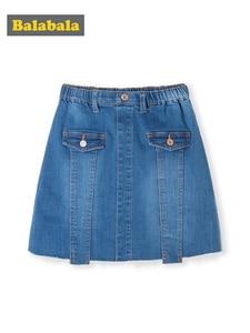 Image 1 - Balabala Children wear girls short skirt 2019 new summer skirt big girl fashion denim skirt tide