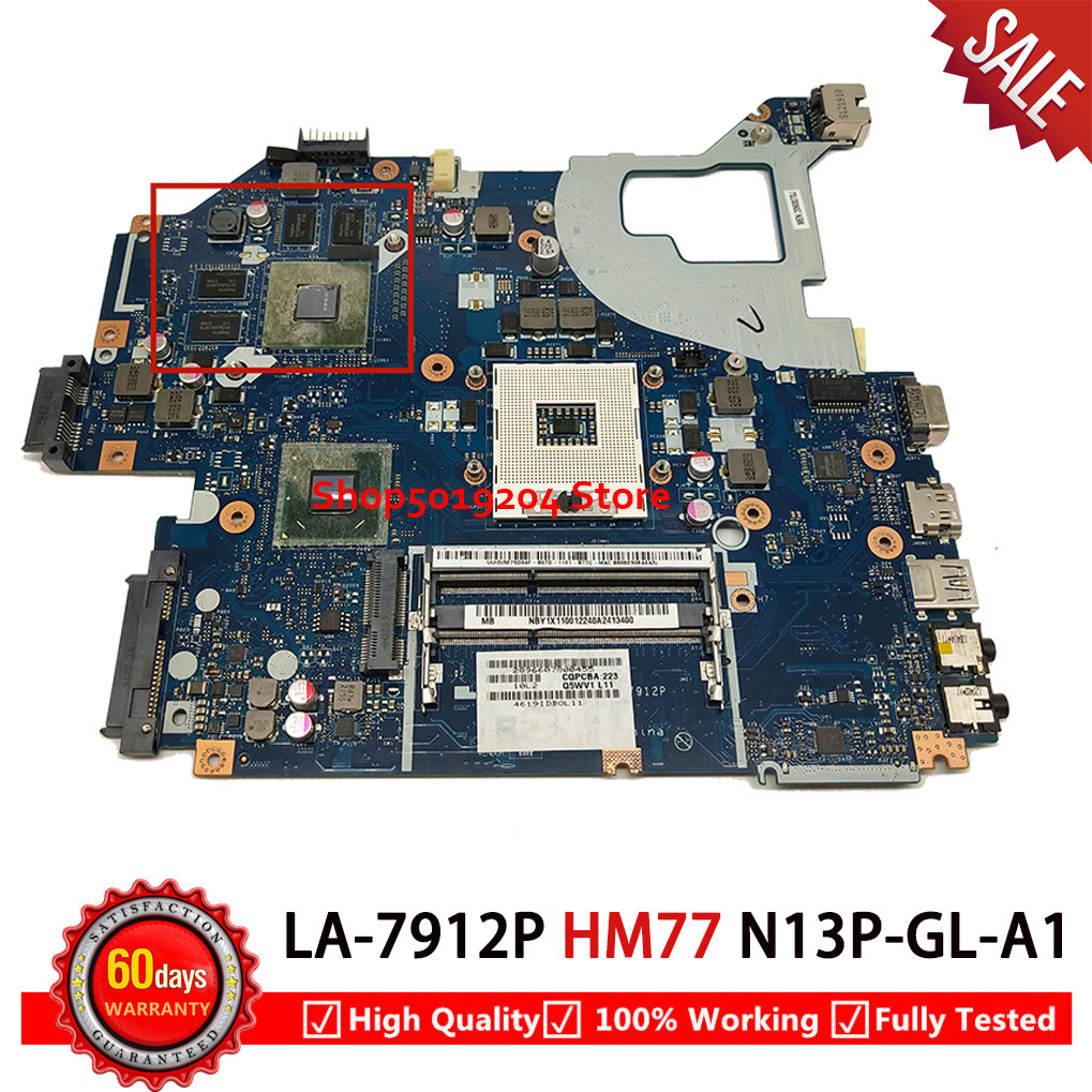 LA-7912P For Acer V3-571G V3-571 E1-571 DDR3  Laptop Motherboard Q5WVH LA 7912P HM77 Chipset Fit I3 I5 I7 Cpu