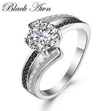 Черный ость nouveau Классический 925 стерлингового серебра ювелирные