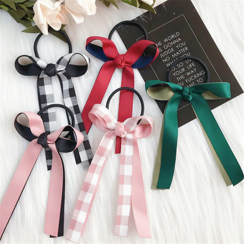 Korean Elegant Bowknot Ponytail Holder Scrunchie For Women Adjustable Hair Ribbons Elastic Hair Bands Hair Rope Hair Accessories