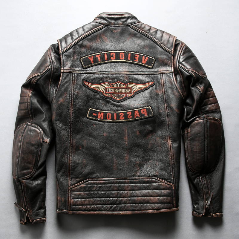 2020 Men's vintage stylish motorcycle brand cow moto biker jacket men slim fit real leather coat male