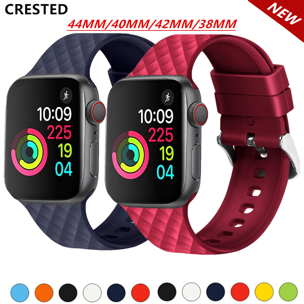Silicone Strap For Apple Watch Band 5 44mm 40mm Iwatch Band 42mm 38mm Watchband Bracelet Apple Watch 5 4 3 2 1 Diamond Pattern