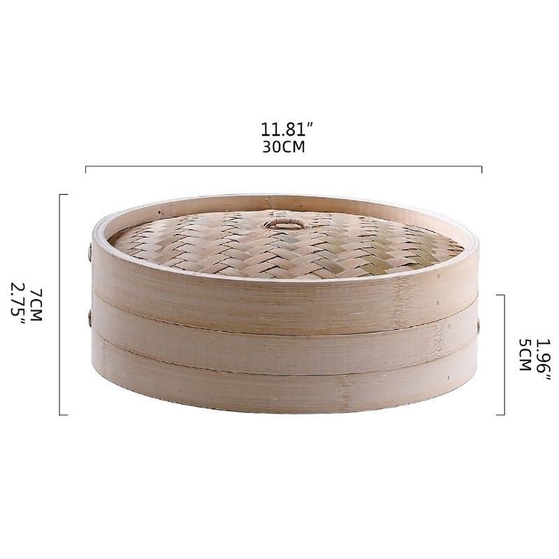 5.1 Inch Itchen Bamboo Steamer Basket Asian Food Steamer For Dim Sum Dumplings K4UA